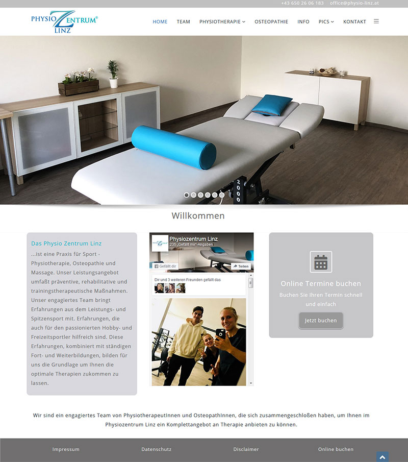 Physizentrum Linz, Physiotherapie, Sportphysiotherapie, Osteopathie, Massage